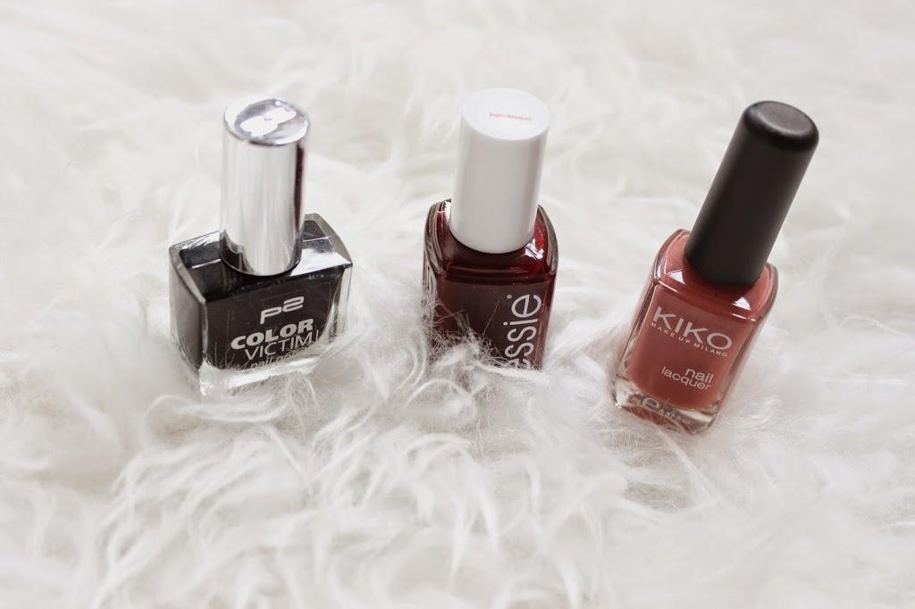bezaubernde nana, beautyblog, germany, nagellack, essie nagellack bordeaux rot, p2 nagellack schwarz, kiko nagellack rost braun
