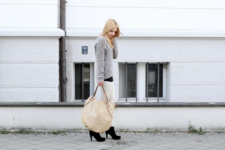 Brauner Strick-Pulli, beige Hose & LA MARTINA Shopper + GEWINNSPIEL!