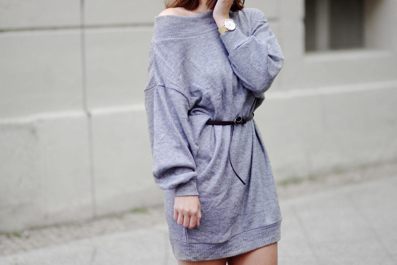 Oversize Pullover als Kleid! Outfit mit grauem Pullover und