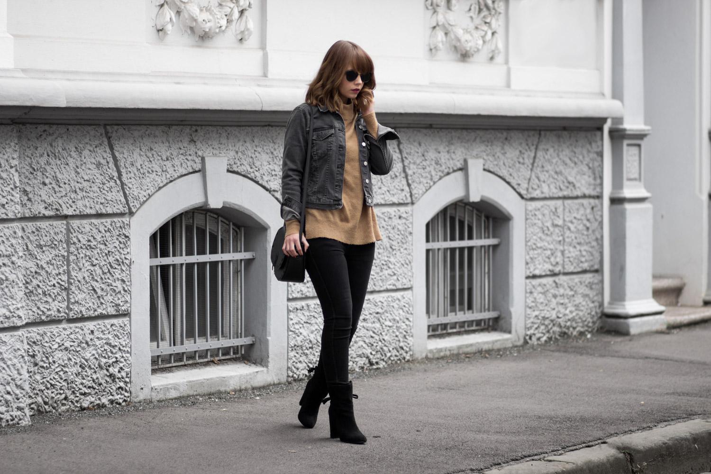 jeansjacke im herbst outfit mit schwarzer jeansjacke und. Black Bedroom Furniture Sets. Home Design Ideas