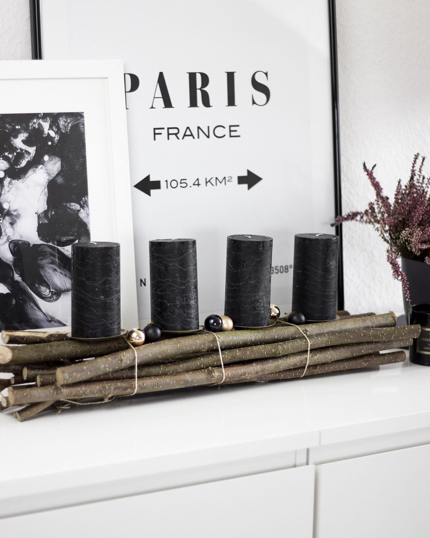 moderner adventskranz in gold und schwarz mit holz. Black Bedroom Furniture Sets. Home Design Ideas