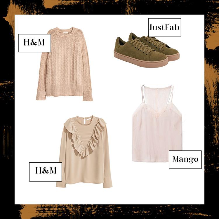 November Favoriten 2016, Monatsrückblick, Mode Neuheiten, Strickpullover von H&M, Sneaker in khaki, Bluse mit Volant, Lingerie Top in Nude, bezauberndenana.de