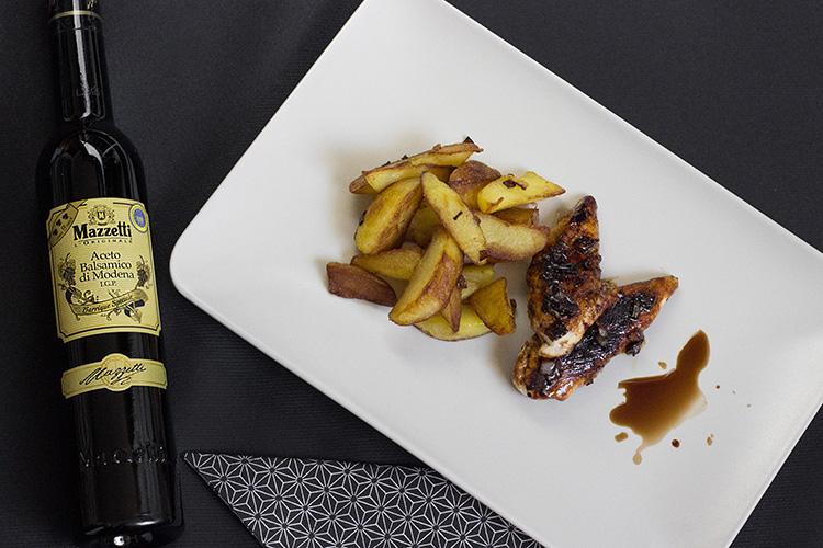 Mazzetti L'originale Aceto Balsamico, Rezepte für Weihnachten, winterliches Rezept, Festtagsrezept, karamellisiertes Balsamico-Hähnchen mit Kartoffelspalten,  bezauberndenana.de