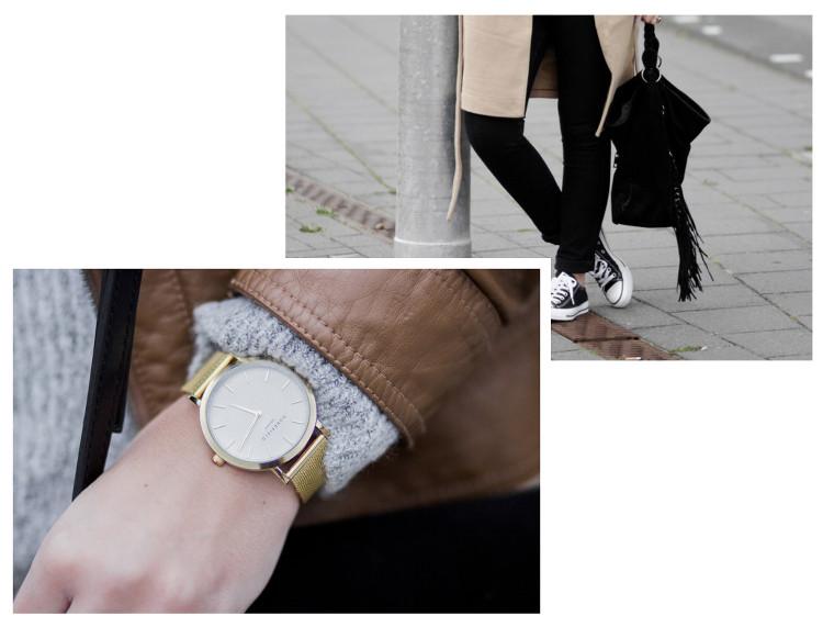 Meine wahren Mode Favoriten 2016, schwarze samt Tasche mit Fransen von JustFab, goldene Uhr von Rosefield, bezauberndenana.de