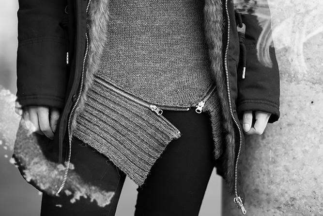winter-outfit-schwarzer-parka-strickullover-mit-reißverschluss-schwarze-jeggings-nieten-stiefeletten-streetstyle-bezauberndenana