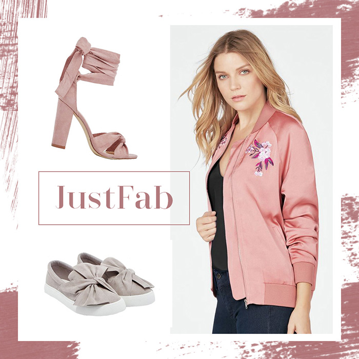 Februar Favoriten 2017, Monatsrückblick, JustFab, rosa Bomberjacke mit Stickereien, Schuhe mit Schleife, bezauberndenana