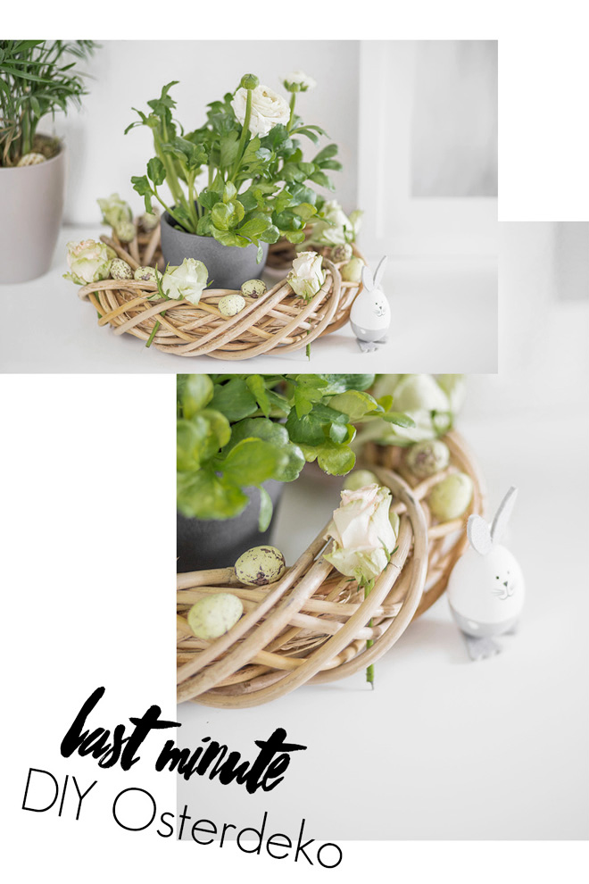 Last Minute DIY Osterdeko, Easter decor, selbstgemachter Osterkranz mit Blumen, bezauberndenana.de
