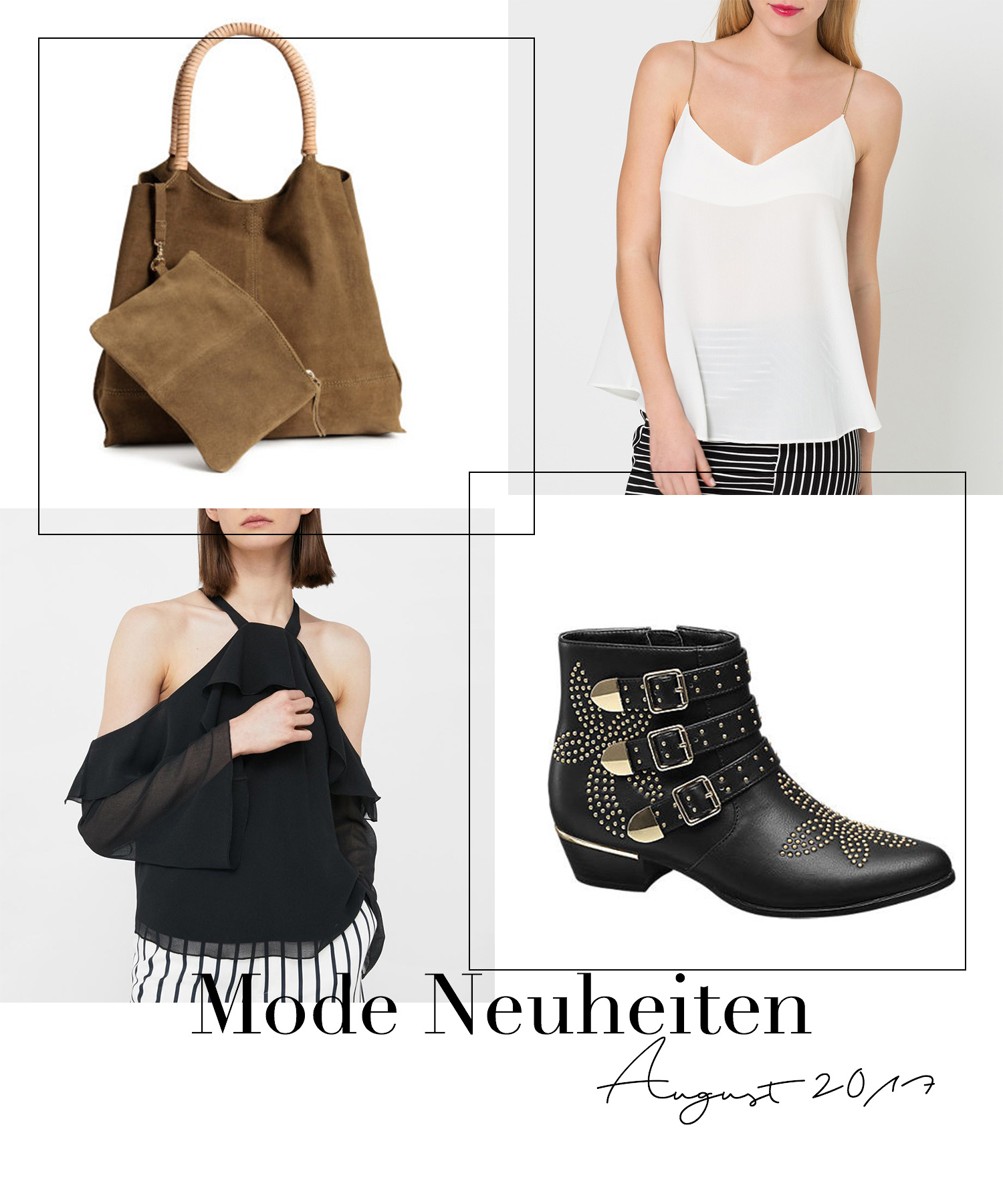 August Favoriten 2017, Monatsrückblick, Mode Neuheiten, Khaki Wildledertasche H&M Premium, Mango schulterfreie Bluse, Deichmann Stiefeletten mit Nieten, bezauberndenana.de