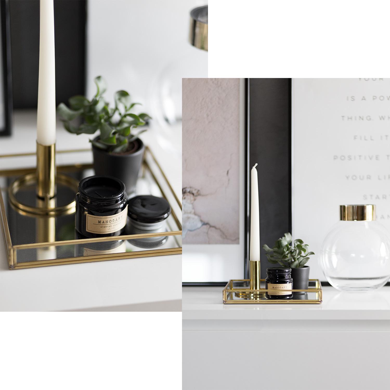 August Favoriten 2017, Monatsrückblick, Deko Neuheiten, H&M Home, goldenes Tablett, goldener Kerzenhalter, Glasvase mit goldenem Rand, Duftkerze, bezauberndenana.de