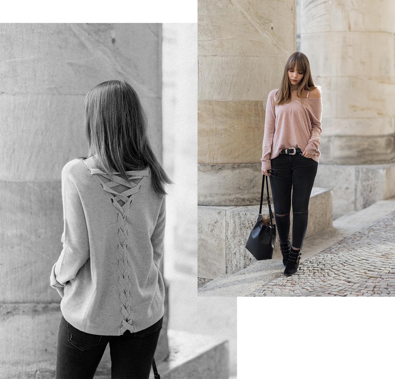 Kaschmir Pullover Outfit, Repeat Cashmere, Herbst Trend, Rosa Strickpullover mit Schnürung, Nieten Stiefeletten, Herbst Must-Have, bezauberndenana.de