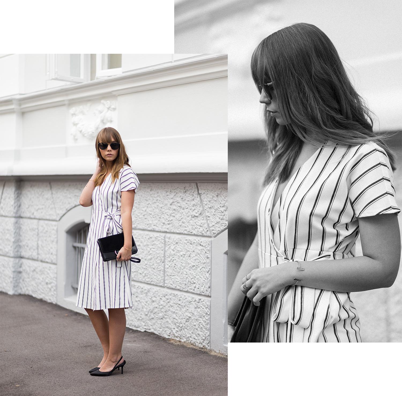 Wickelkleid mit Streifen Outfit, Asos, Vero Moda, klassisch und schick, Slingback Pumps von Zara, Streetstyle, bezauberndenana.de