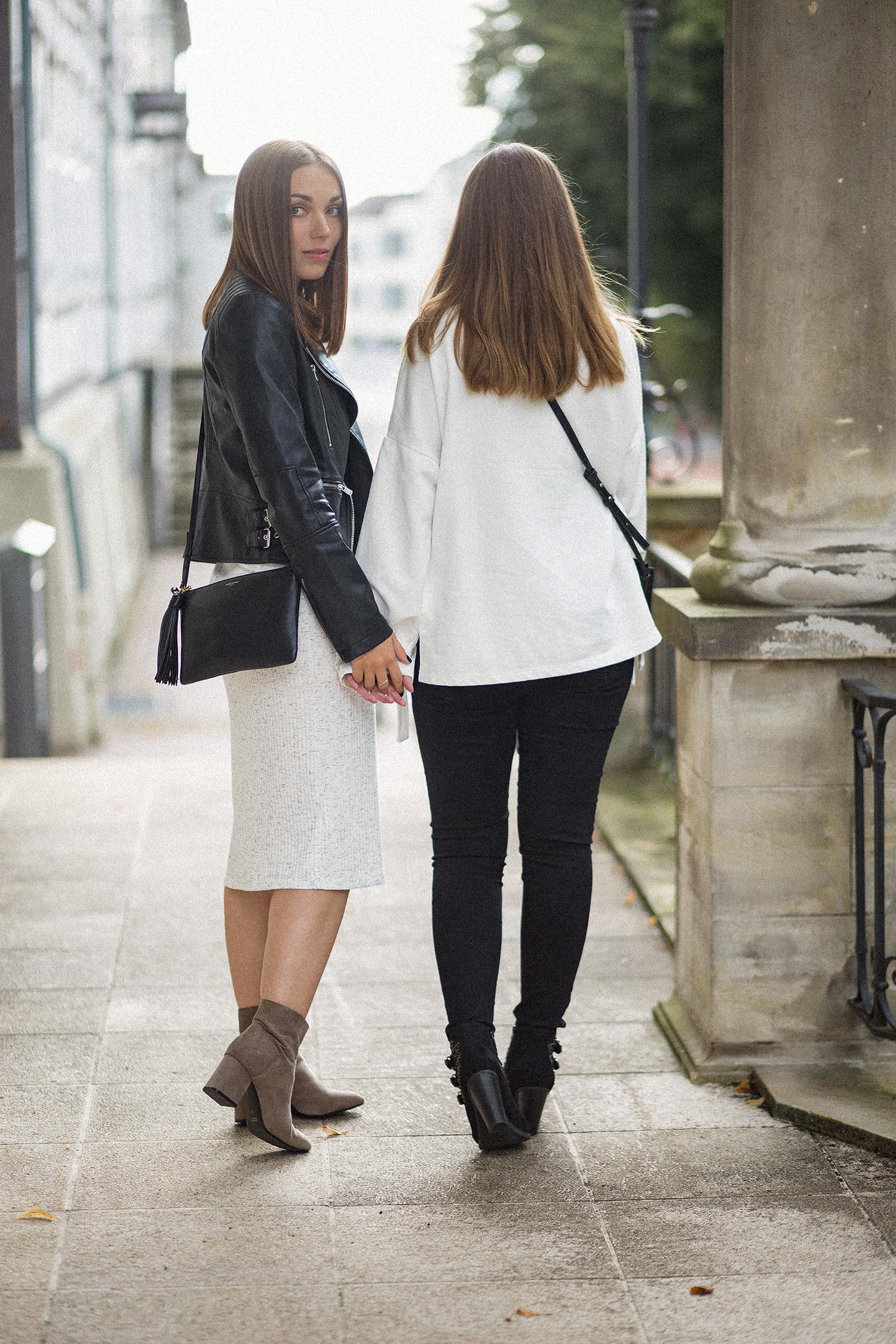 Fashion Swap mit Luisa von sparkly inspiration, meliertes Midikleid Outfit, schwarze Lederjacke, Yves Saint-Laurent Tasche, bezauberndenana.de