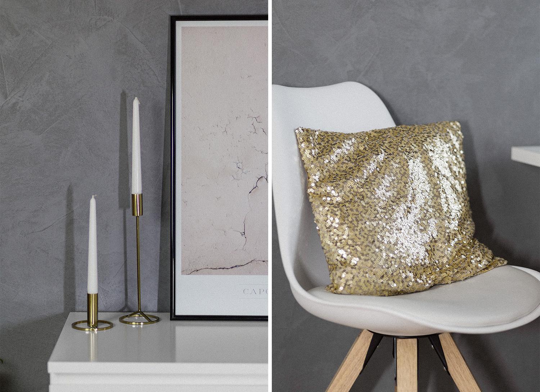 November Favoriten 2017, Monatsrückblick, Deko Neuheiten, H&M Home, goldener Kerzenleuchter, goldenes Pailletten Kissen, bezauberndenana.de