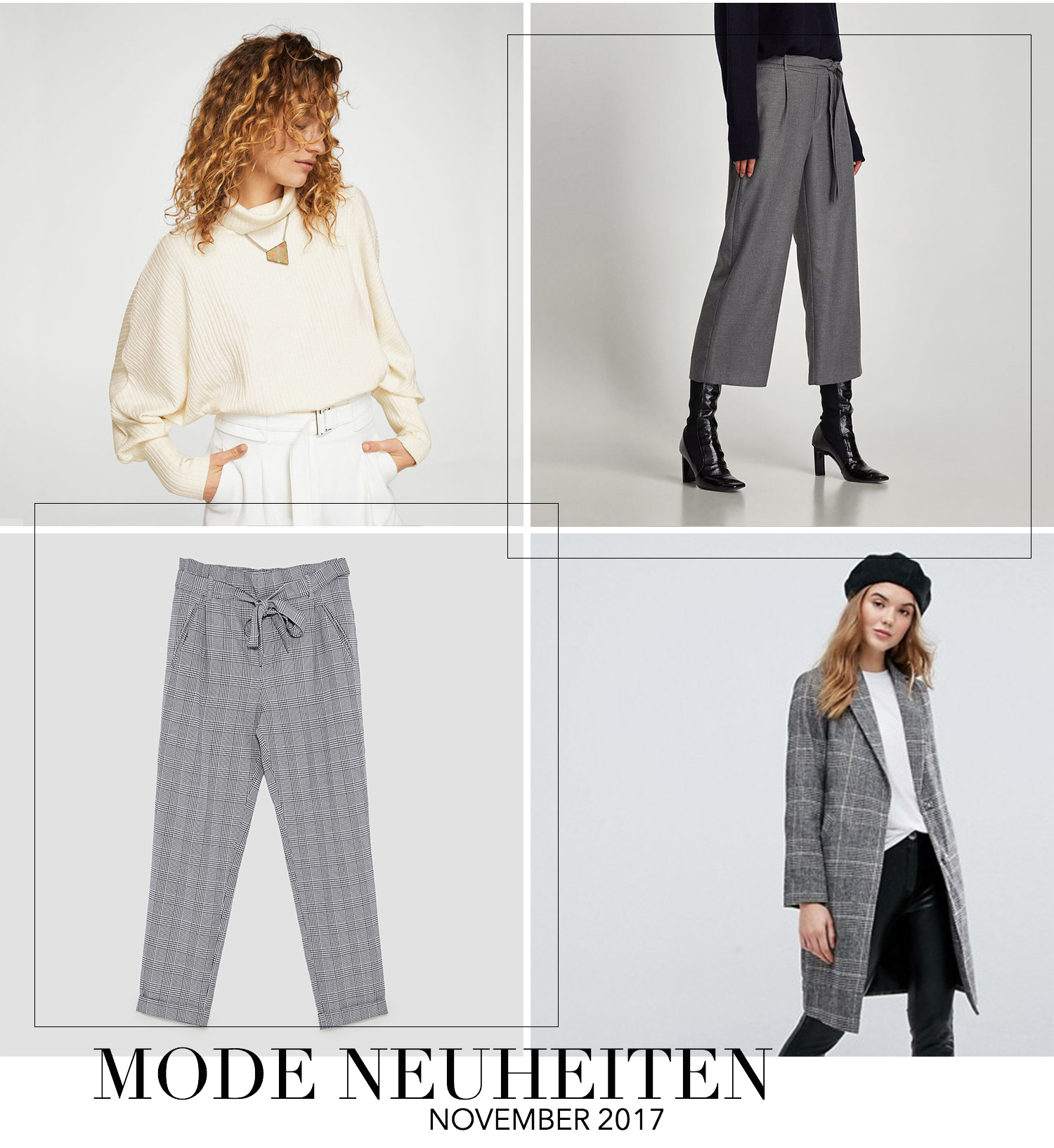 November Favoriten 2017, Monatsrückblick, Mode Neuheiten, Karierter Mantel New Look, Karo Hose Zara, graue Culotte Zara, bezauberndenana.de